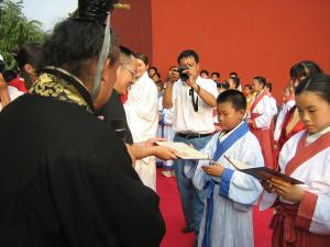 A Coming-of-age ceremony at a Confucian tutelage.