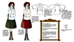 Girls' fall-winter uniform, based on Ming ruqun designs