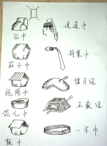 Men's headwear. Drawings by Goddy Hu.