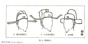 Various forms of Pu'tou evolved Guan, or 'Wu Sha' caps.