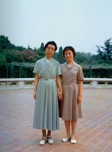 Jiang Qing Dress, worn by the (purported) designer herself, left.