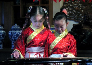 Two of Yang Qing's young students in a gathering, Beijing 2006.